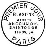 Oblitération 1er jour à Paris le 11 novembre 1954