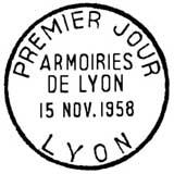 Oblitération 1er jour à Lyon le 15 novembre 1958