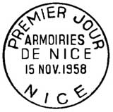 Oblitération 1er jour à Nice le 15 novembre 1958