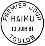Oblitération 1er jour à Toulon le 10 juin 1961