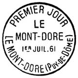 Oblitération 1er jour au Mont Dore le 1 juillet 1961