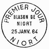 Oblitération 1er jour à Niort le 25 janvier 1964