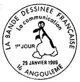 Oblitération 1er jour à Angoulème le 29 janvier 1988