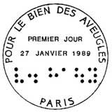 Oblitération 1er jour à Paris le 27 janvier 1989