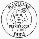 Oblitération 1er jour à Paris le 21 mai 1990