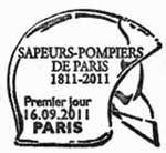 Oblitération 1er jour à Paris  au Carré d'Encre, Cintegabelle, Bordeaux, Pacé, Fiminy, Nantes,  Tomblaine, Aras, Lyon, Montville, Chasseneuil du Pointou, Fort-de-France et Robert 16 et 17 septembre 2011.