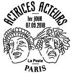 Oblitération 1er jour à Paris au carré d'Encre le 7 septembre 2018
